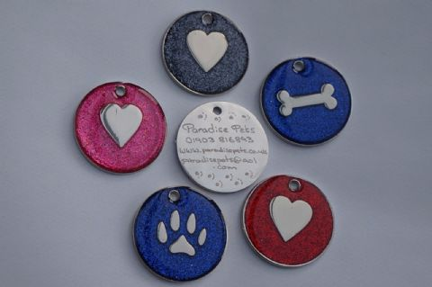 ENGRAVED GLITTER DOG TAG 32MM WITH STRONG SPLIT RING